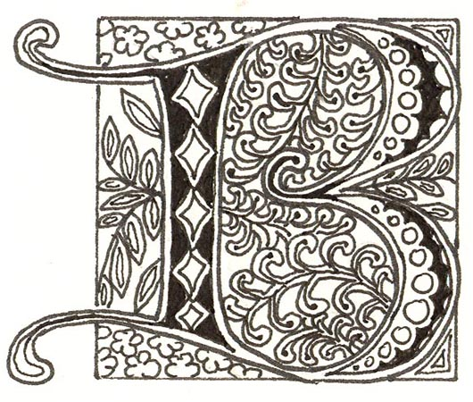very simple illuminated letter done with Micron pens, colored ...